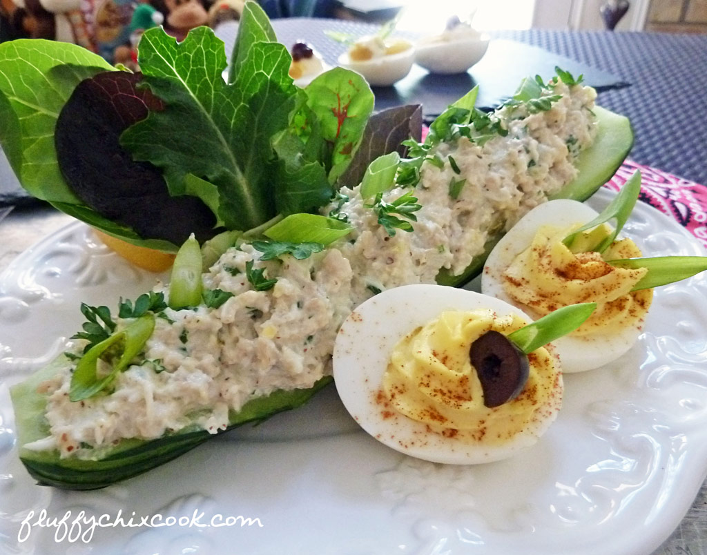 Aunt reas chicken salad low carb southern goodness fluffy chix cook chicken salad cucumber boats forumfinder Images
