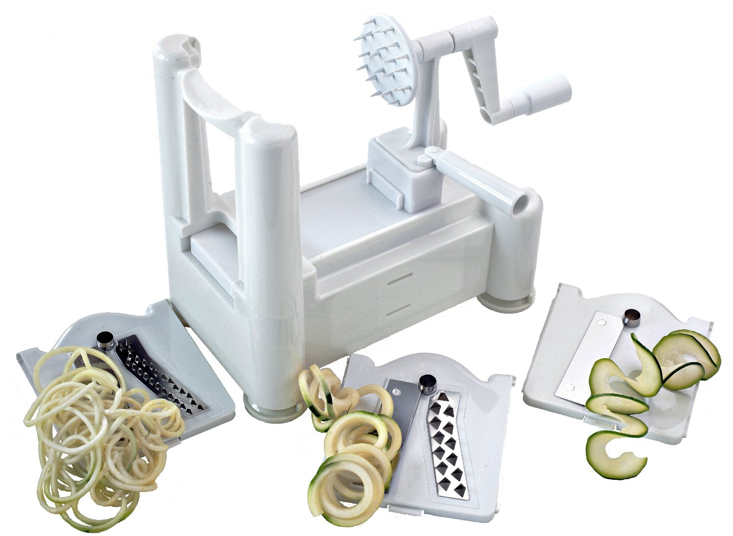 (Click on image to order from our trusted Amazon Partner) Paderno World Cuisine Tri-Blade Spiral Slicer works great to make multiple width veggie pasta.