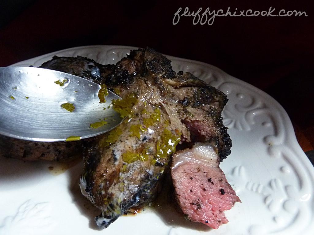 lamb-loin-chop-mustard-glaze-homemade-mint-sauce