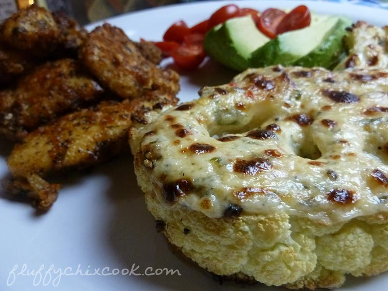 Low Carb Cheesy Roasted Cauliflower Steak with Simple Cheese Sauce Recipe