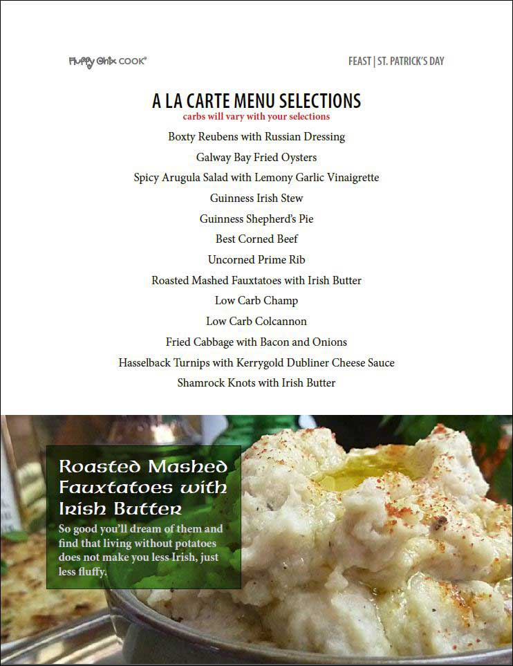 A La Carte Savory Menu from Feast St. Patrick's Day