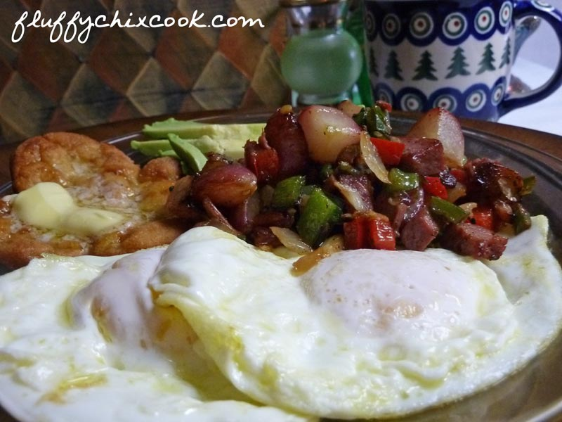 Low Carb Corned Beef Hash with Fried Eggs