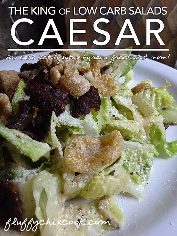 Low Carb Croutons with Caesar Salad