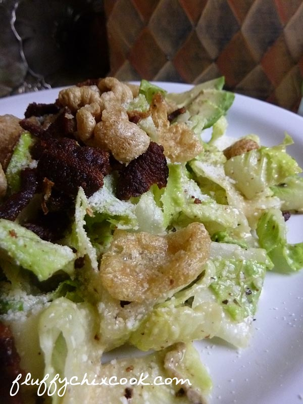 Low Carb Porktacular Croutons on Caesar Salad