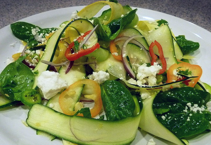 Zucchini Mint Feta Ribbon Salad from Fluffy Chix Cook