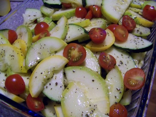 Tangy Summer Squash Salad with Tomatoes from Low Carb Yum