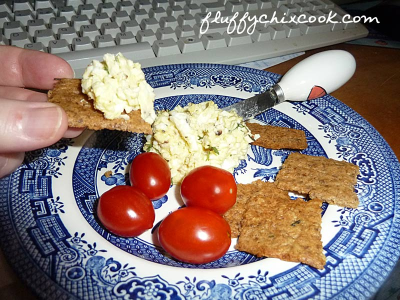 Low Carb Rosemary Walnut Crackers with Egg Salad