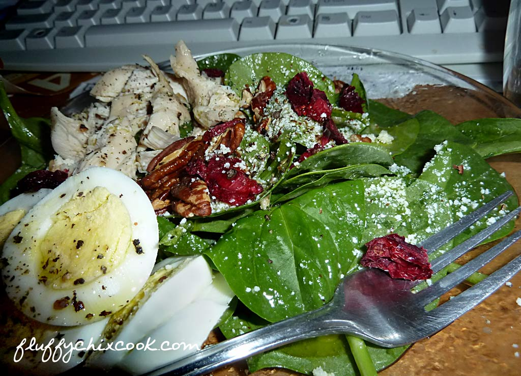 Spinach Salad With Chicken and Low Carb Dried Cranberries